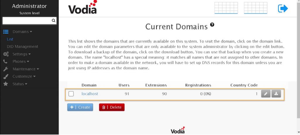 Vodia IOP Domain Settings
