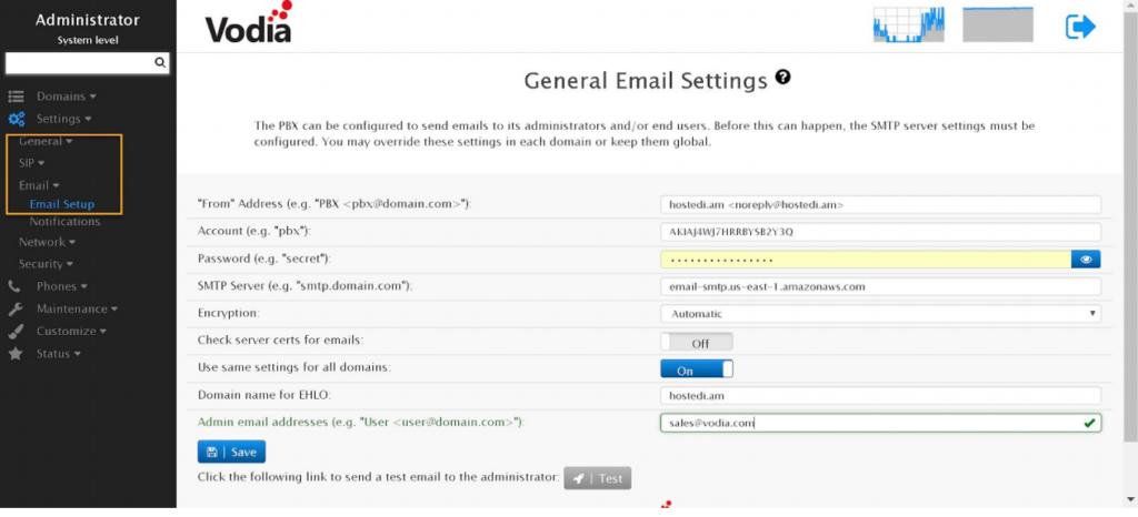 Vodia IOP SMTP Setup